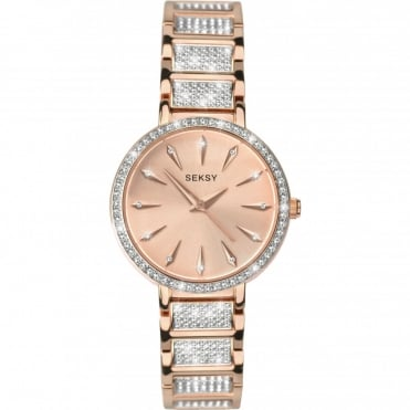 Seksy Ladies' Stone Set Rose Gold Plated Bracelet Watch