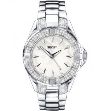 Seksy Ladies' Stone Set Silver Bracelet Watch
