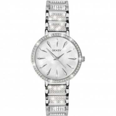 Seksy Ladies' Stone Set Stainless Steel Bracelet Watch