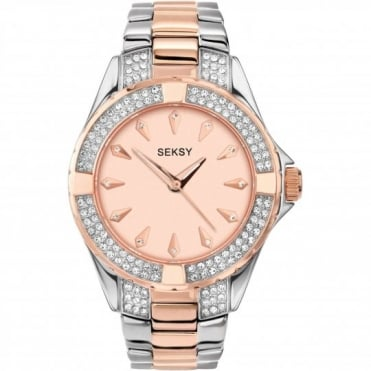 Seksy Ladies' Stone Set Two Tone Bracelet Watch