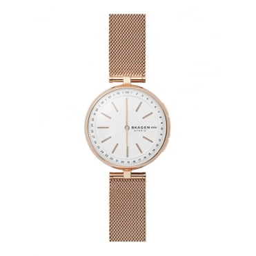 Ladies Hybrid Smart Round White Dial with a Rose Mesh Bracelet