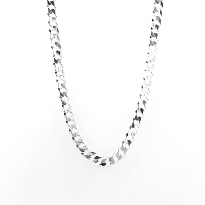 """Sterling Silver 20"""" Diamond Cut Solid Curb Chain"""