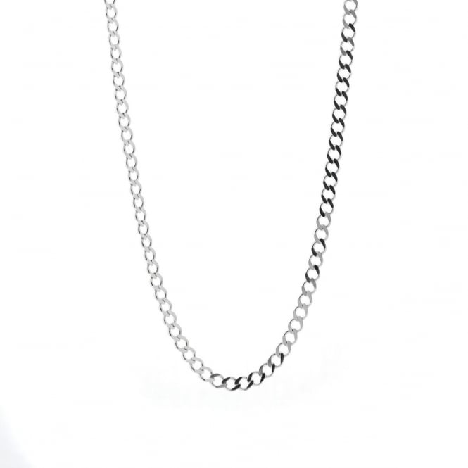 """Sterling Silver 24"""" Diamond Cut Solid Curb Chain"""