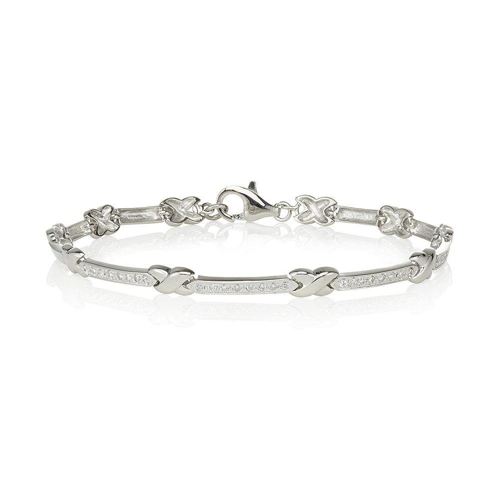 a1d8807b3c63c Swarovski Zirconia by Perfection Sterling Silver Grain Set Plain Kiss  Bracelet