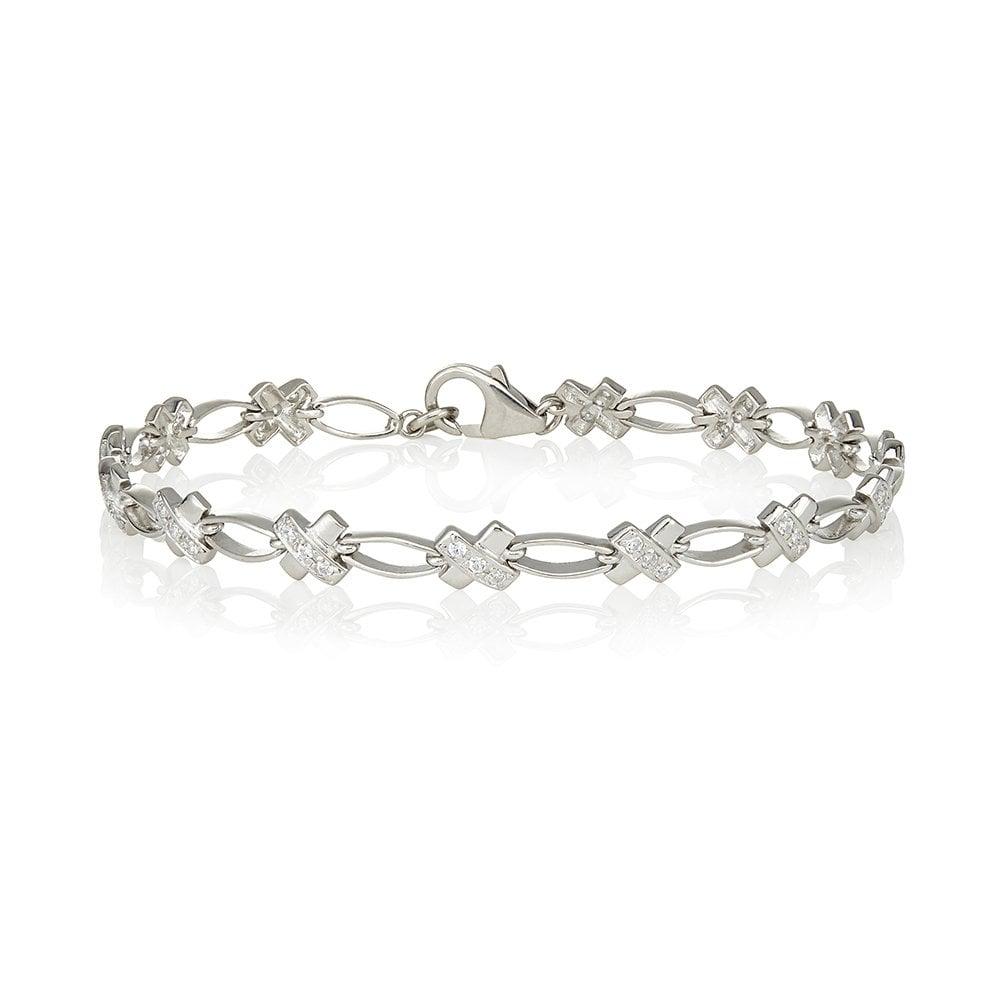 768ac8da4c7e4 Sterling Silver Stone Set Kiss Bracelet