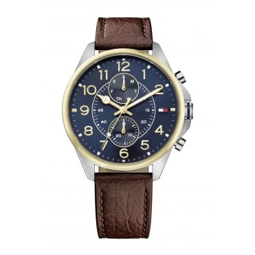 Tommy Hilfiger Dean Mens Brown Strap Watch