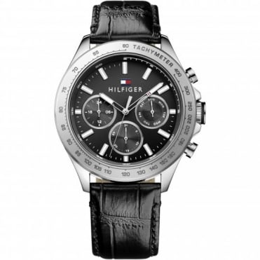 Tommy Hilfiger Hudson Mens Black Strap Watch