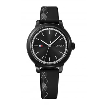 Tommy Hilfiger Ladies' Black Silicone Strap Watch