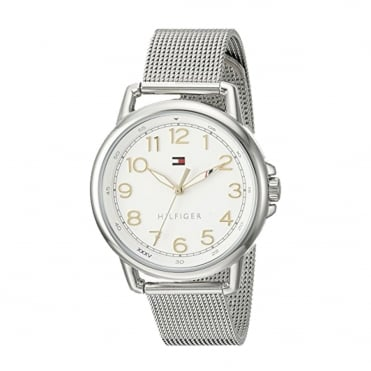 Ladies 'Casey' Round White Dial with a Silver Mesh Bracelet