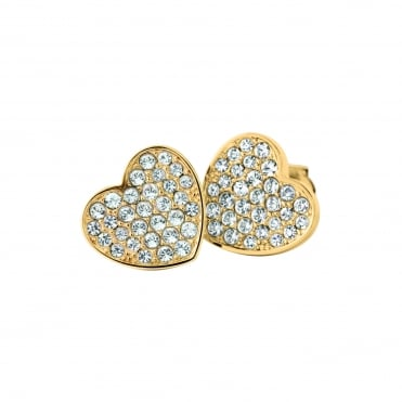 Ladies Gold Plated Heart Pave Studs