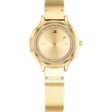 Ladies 'Olivia' Round Gold Dial with a Gold Plated Mesh Bangle