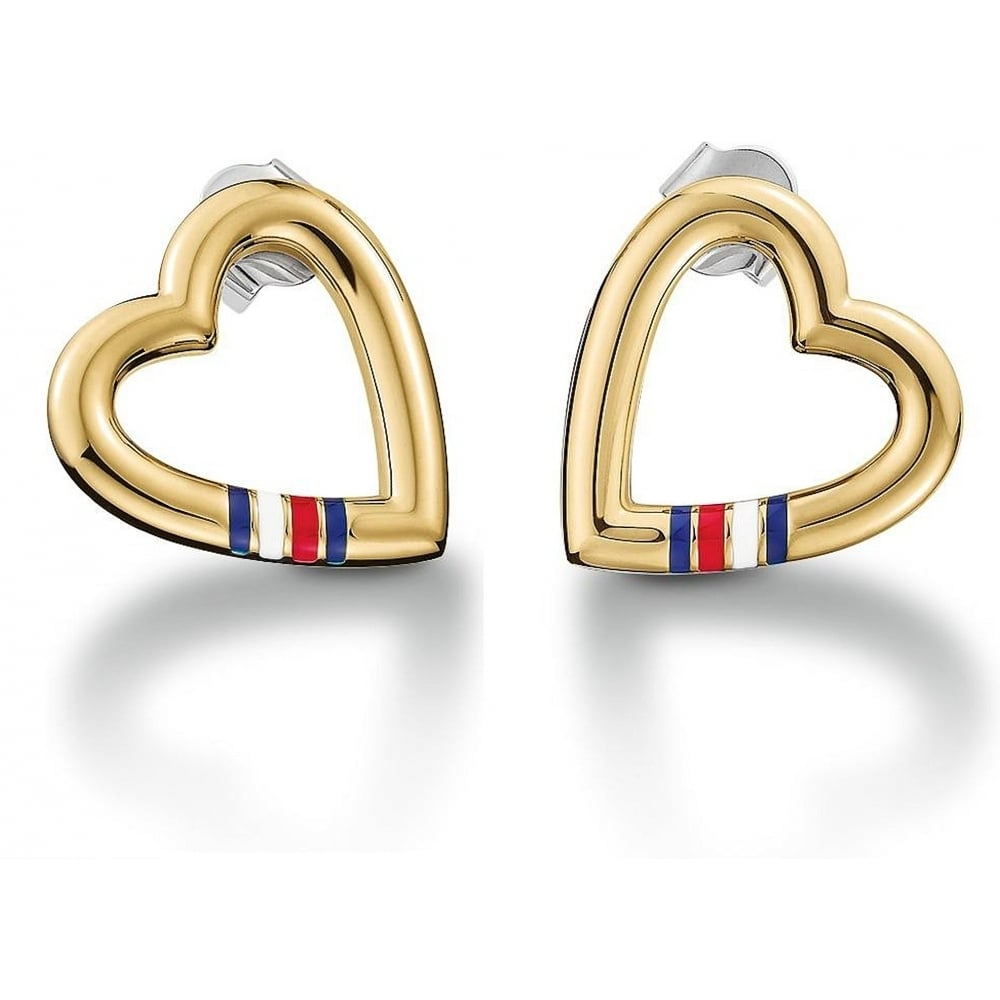 fbbf4ae752c84 Tommy Hilfiger Ladies Open Heart Gold Plated Stud Earrings