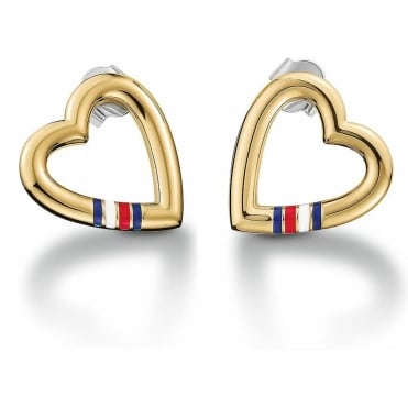 Ladies Open Heart Gold Plated Studs