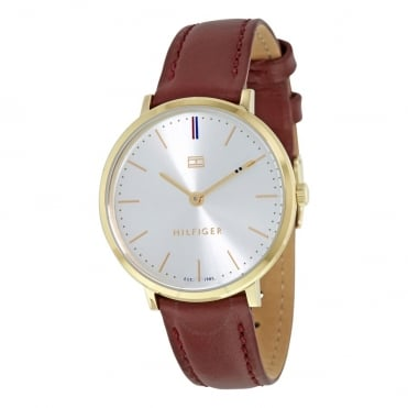 Ladies 'Pippa' Round Champagne Dial with a Burgundy Strap