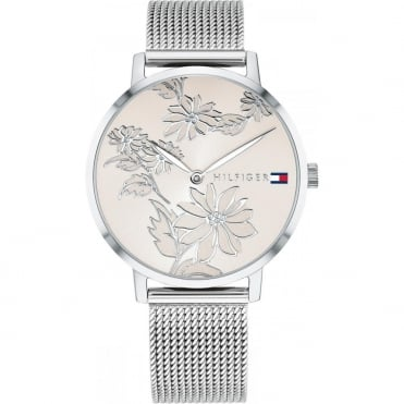 Ladies 'Pippa' Round Floral Blush Dial with a Stainless Steel Mesh Bracelet