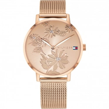Ladies 'Pippa' Round Floral Rose Dial with a Rose Mesh Bracelet
