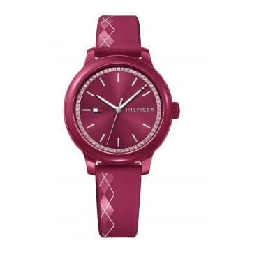 Tommy Hilfiger Ladies' Red Silicone Strap Watch