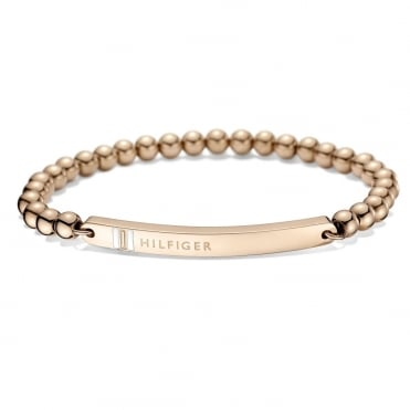 Ladies Rose Gold Plated ID Beaded Bracelet