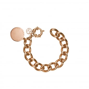 Ladies Rose Gold Plated Medallion Chain Link Bracelet