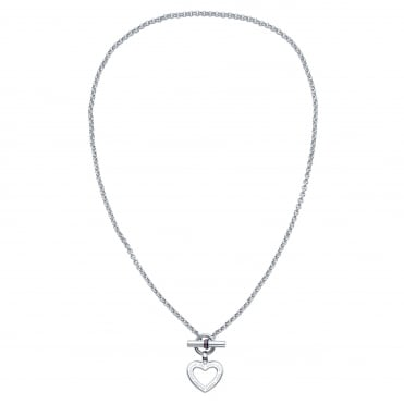 Ladies Stainless Steel Enamel Heart Toggle Necklace