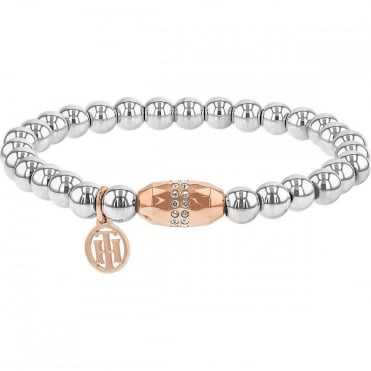 Ladies Stretch Bead 2 Colour Steel and Rose Crystal Bracelet