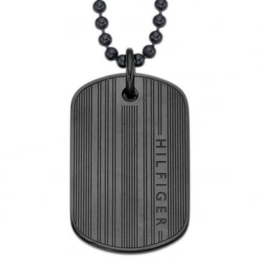 Mens Black Single Dogtag and Ball Chain