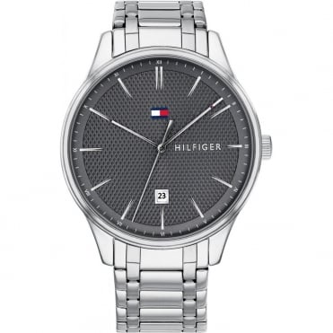 Mens 'Damon' Round Grey Date Dial with a Stainless Steel Bracelet
