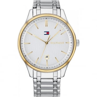 Mens 'Damon' Round White Date Dial with a Stainless Steel Bracelet