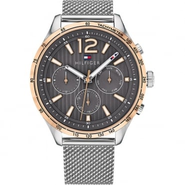 Tommy Hilfiger Mens Gavin Round Black Chronograph Dial with a Stainless Steel Mesh Bracelet