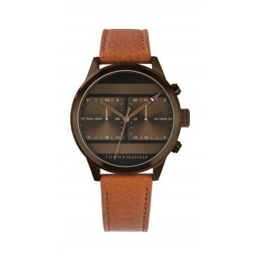 b220d270 Mens 'Icon' Round Bronze Dual Time Dial Tan Strap Watch New In. Tommy  Hilfiger ...