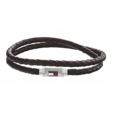 Mens Iconic Bead Blk Leather Dble Blt