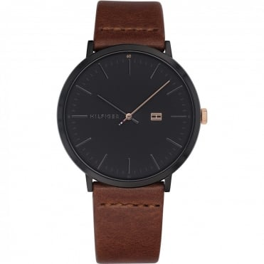 Mens 'James' Round Black Dial with a Dark Tan Strap