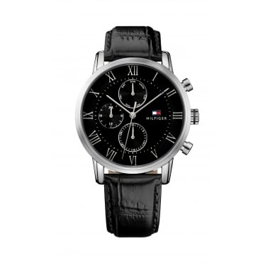 Mens Kane Round Black Chronograph Dial Black Strap Watch