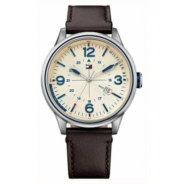 Mens 'Peter' Round Cream Dial with a Brown Strap