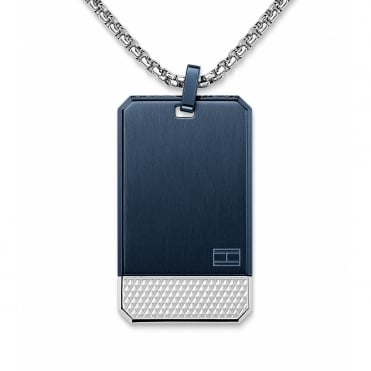 Mens Textured Bottom Blue/Silver Dogtag