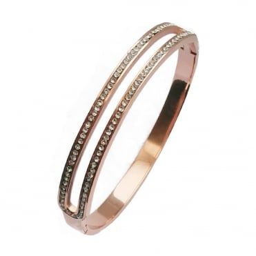 VIP Ladies Gold Plated 2 Row Crystal Bangle