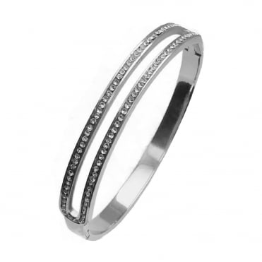 VIP Ladies Silver Plated 2 Row Crystal Bangle
