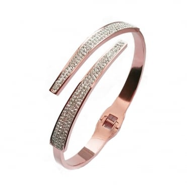 VIP Rose Gold Plated Crystal Crossover Hinged Bangle