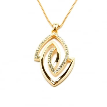 VIP Rose Gold Plated Crystal Set Marquise Pendant and Chain