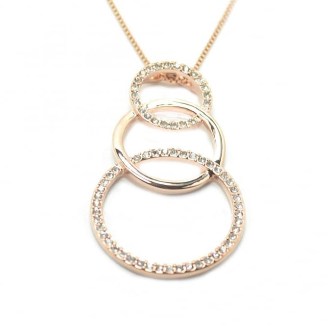 VIP Rose Gold Plated Crystal Set Triple Circle Drop Pendant and Chain