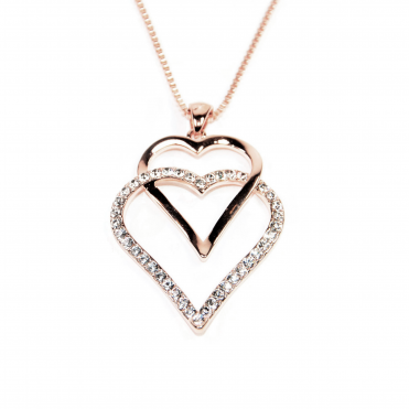 VIP Rose Gold Plated Double Heart Crystal Set Pendant and Chain