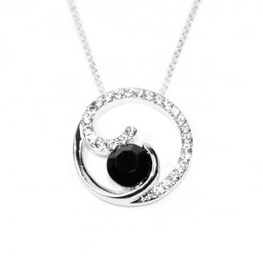 VIP Silver Plated Black/White Crystal Circle Pendant and Chain