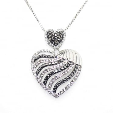 VIP Silver Plated Black & White Crystal Set Heart Pendant and Chain