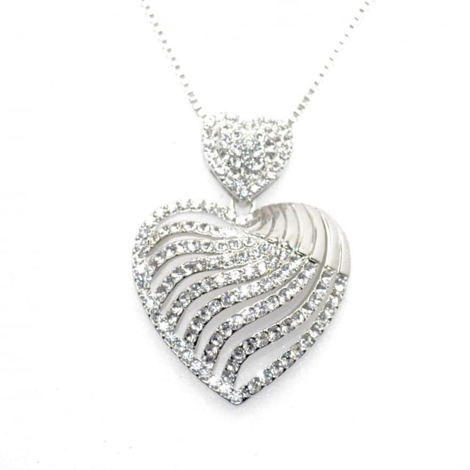 VIP Silver Plated Clear Crystal Heart Pendant and Chain