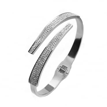VIP Silver Plated Crystal Crossover Bangle