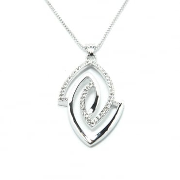 VIP Silver Plated Crystal Set Marquise Pendant and Chain