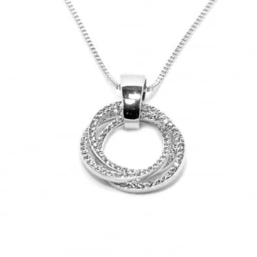 VIP Silver Plated Crystal Set Triple Circle Pendant and Chain